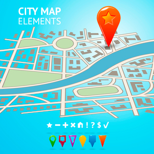 City street road route decorative map with navigation markers and pins vector illustrationのイラスト素材 [FYI03092933]