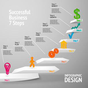 Ascending upward staircase uccessful business seven steps concept infographic vector illustrationのイラスト素材 [FYI03092934]