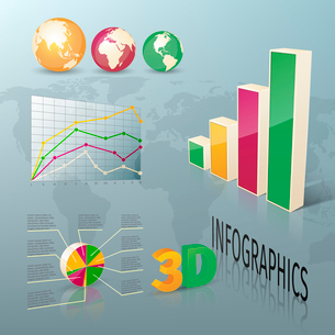 Abstract 3d business infographics design elements charts and graphs vector illustrationのイラスト素材 [FYI03092942]