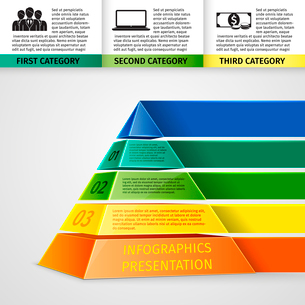Abstract 3d pyramid infographics design template with title categories and progress options vector iのイラスト素材 [FYI03092943]