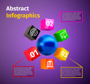 Cubes and spheres business infographics template with data labels and options vector illustrationのイラスト素材 [FYI03092945]