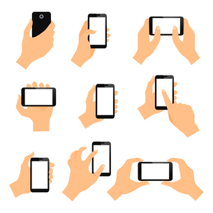 Touch screen hand gestures design elements of swipe pinch and tap isolated vector illustrationのイラスト素材 [FYI03092950]