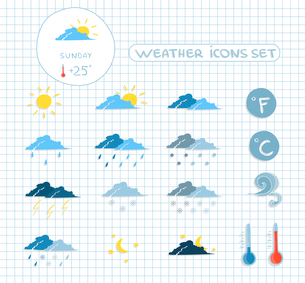 Weather forecast icons set of clear cloudy stormy and snow sky vector illustrationのイラスト素材 [FYI03092954]