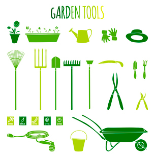 Garden related  tools and accessories with plants cartoon pictograms set isolated vector illustratioのイラスト素材 [FYI03092955]
