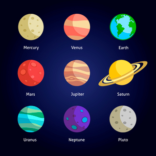 Solar system planets decorative icons set isolated on dark background vector illustrationのイラスト素材 [FYI03092959]