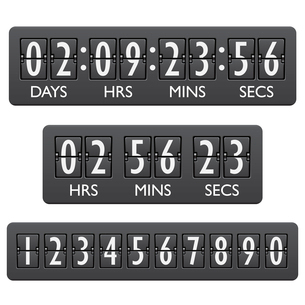 Countdown clock timer mechanical digits board panel indicator emblem vector illustrationのイラスト素材 [FYI03092960]