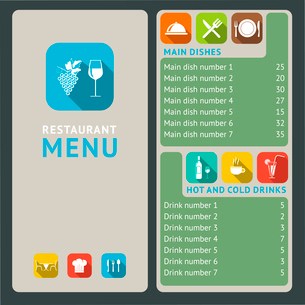 Modern restaurant menu list with flat cooking and serving icons vector illustrationのイラスト素材 [FYI03092962]