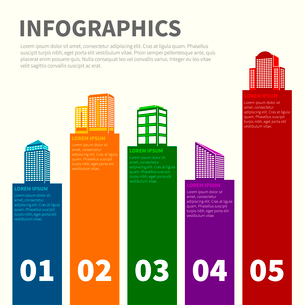 Business modern urban office and private buildings infographics set vector illustrationのイラスト素材 [FYI03092963]
