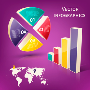 Abstract 3d pie chart columns and map business infographics layout template vector illustrationのイラスト素材 [FYI03092970]