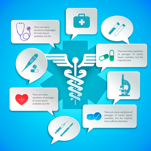 Medical pharmacy ambulance paper infographic with icons and speech bubbles vector illustration.のイラスト素材 [FYI03092974]