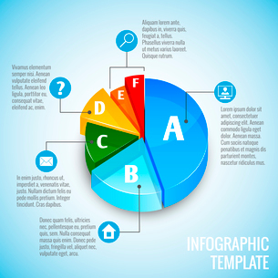Colored abstract 3d pie chart web design infographic element with internet icons vector illustrationのイラスト素材 [FYI03092979]