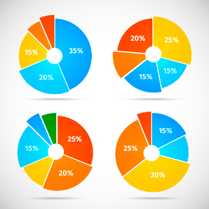 Colored flat pie chart set template with isolated sectors vector illustrationのイラスト素材 [FYI03092982]