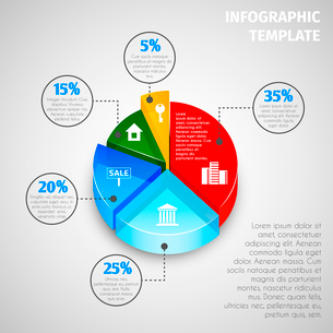 Colored abstract 3d pie chart with percent labels real estate infographic template vector illustratiのイラスト素材 [FYI03092985]