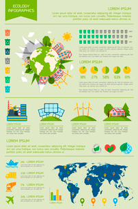 Ecology eco friendly energy world infographic set with graphs and charts vector illustrationのイラスト素材 [FYI03092989]