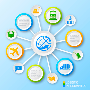 Logistic paper business infographic options and transportation chain elements vector illustrationのイラスト素材 [FYI03092990]