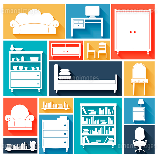 Furniture paper silhouette decorative icons set of chair sofa desk bed isolated vector illustrationのイラスト素材 [FYI03092995]
