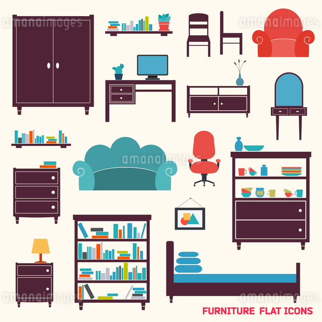Furniture flat decorative icons set of cupboard armchair closet isolated vector illustrationのイラスト素材 [FYI03092996]