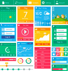 Flat user interface design template internet and applications layout elements vector illustrationのイラスト素材 [FYI03092997]