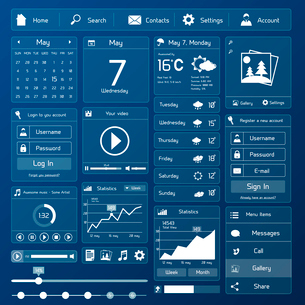Flat user interface design template page menu and layout vector illustrationのイラスト素材 [FYI03093000]