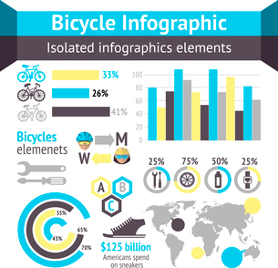 Bicycle sport fitness infographic elements with charts and diagrams vector illustrationのイラスト素材 [FYI03093004]