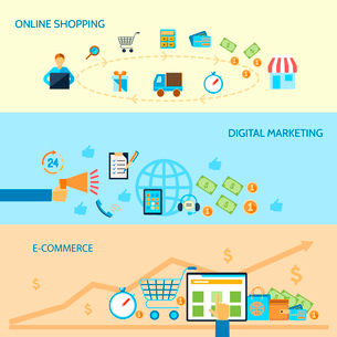 E-commerce banners set of online shopping digital marketing isolated vector illustrationのイラスト素材 [FYI03093009]