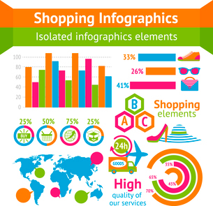 Clothes boots and accessories with map and charts in shopping infographic set vector illustrationのイラスト素材 [FYI03093012]