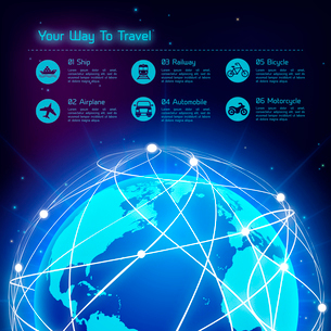 Network globe blue sphere earth map travel background with transport icons vector illustrationのイラスト素材 [FYI03093014]
