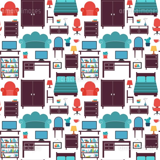 Furniture seamless pattern of wardrobe armchair closet isolated vector illustrationのイラスト素材 [FYI03093015]