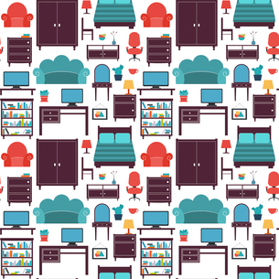 Furniture seamless pattern of wardrobe armchair closet isolated vector illustrationのイラスト素材 [FYI03093015]