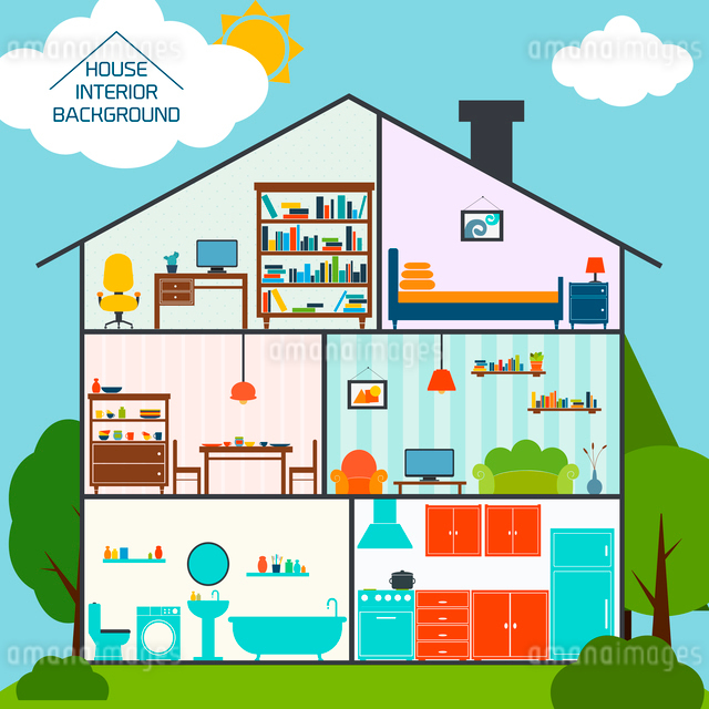 House interiors background with living rooms kitchen bathroom vector illustrationのイラスト素材 [FYI03093016]