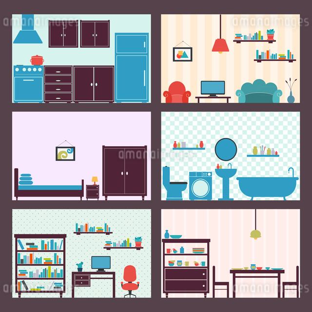 Interiors flat decorative icons set of furniture elements isolated vector illustrationのイラスト素材 [FYI03093017]