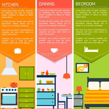House interiors banners with kitchen dining bedroom isolated vector illustrationのイラスト素材 [FYI03093020]