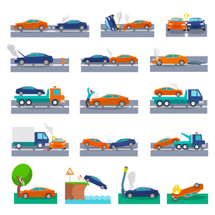 Car crash and accidents icons set with collision fire flood insurance events vector illustrationのイラスト素材 [FYI03093024]