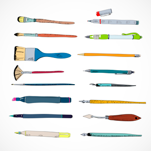 Decorative drawing artist flat angular pointed painting brush felt marker tools set doodle sketch veのイラスト素材 [FYI03093033]