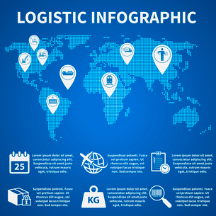 Logistic freight service infographic icons set on world map vector illustrationのイラスト素材 [FYI03093034]