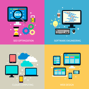 Business process concept of seo optimization programming cloud computing mobile and website design iのイラスト素材 [FYI03093037]