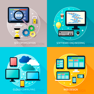 Business process concept of seo optimization software engineering cloud computing and web design icoのイラスト素材 [FYI03093038]