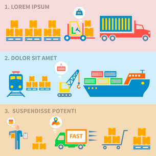 Logistic freight service labels icons set of cargo ship train isolated vector illustrationのイラスト素材 [FYI03093039]