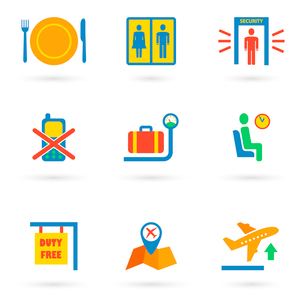 Airport icon flat set of baggage waiting lounge security check isolated vector illustrationのイラスト素材 [FYI03093040]