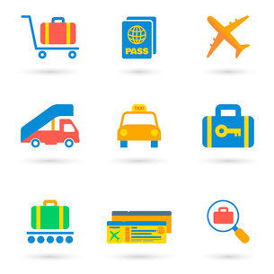 Airport icon flat set of transportation travel vehicle isolated vector illustration.のイラスト素材 [FYI03093051]