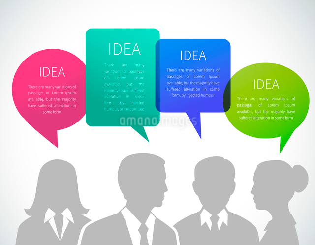 Business meeting concept with people silhouettes and idea speech bubbles vector illustrationのイラスト素材 [FYI03093052]