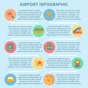 Airport icon flat set of security check airplane suitcase isolated vector illustrationのイラスト素材 [FYI03093053]