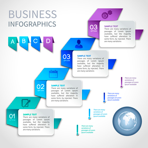 Origami infographics business template with globe and ribbon elements vector illustrationのイラスト素材 [FYI03093059]