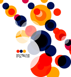Geometric colorful circles background on white with copyspaceのイラスト素材 [FYI03093447]