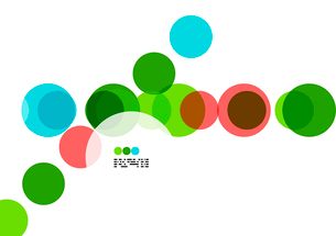Geometric colorful circles background on white with copyspaceのイラスト素材 [FYI03093448]