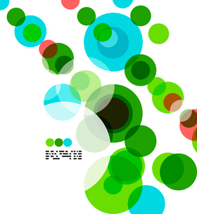 Geometric colorful circles background on white with copyspaceのイラスト素材 [FYI03093452]