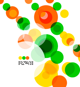 Geometric colorful circles background on white with copyspaceのイラスト素材 [FYI03093454]