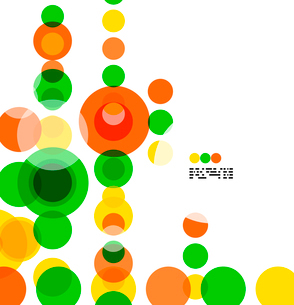 Geometric colorful circles background on white with copyspaceのイラスト素材 [FYI03093455]