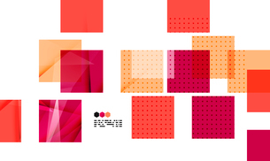 Bright red textured geometric shapes isolated on white - modern design templateのイラスト素材 [FYI03093499]