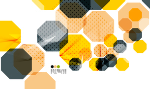Bright yellow and dark textured geometric shapes isolated on white - modern design templateのイラスト素材 [FYI03093502]